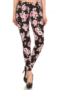 BLACK/PINK/WHITE FLORAL PRINT BRUSH POLY LEGGING #7L01-32