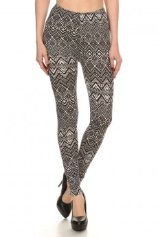 BLACK/WHITE CHEVRON GEO PRINT BRUSH POLY LEGGING #7L01-36