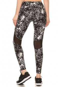 BLACK/WHITE TROPICAL PRINT LEGGING W/ BACK KNEE MESH PANELS #7L02-01