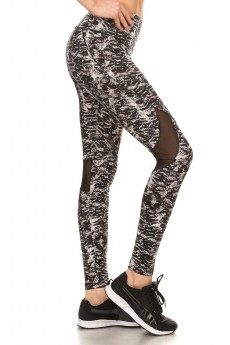 BLACK ANIMAL PRINT LEGGING W/ BACK KNEE MESH PANELS #7L02-04