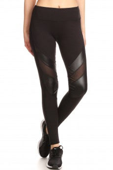 BLACK LEGGING WITH CONTRAST MESH AND PU PANELS#7L101