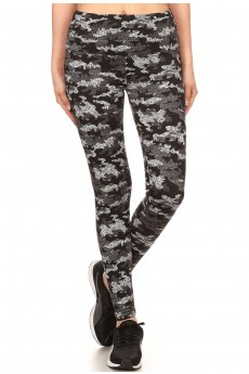 BLK/GRY CAMO PRINT HIGH WAIST FLEECE LINED LEGGING #7L105-07