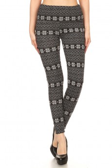 BLK/HGRY FAIRISLE PRINT FLEECE-LINED SWEATER KNIT LEGGING #7L108-02