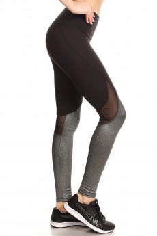 CONTRAST METALLIC KNIT LEGGING W/BACK KNEE MESH PANELS#7L121