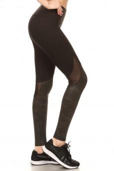 BLACK CONTRAST SHINY COAT PRINT LEGGING W/ BACK KNEE MESH PANEL#7L122-01