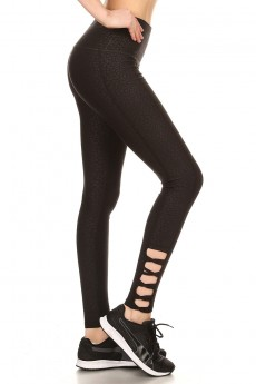 BLK HIGH WAIST ANIMAL EMBOSSED LEGGING W/ CRISS CROSS STRAPS #7L128-02