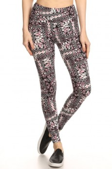 BLACK/MAUVE ABSTRACT GEO PRINT BRUSH POLY HIGH WAIST LEGGING #7L14-06
