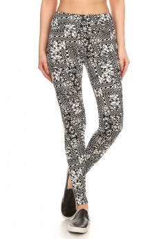 BLACK/WHITE ABSTRACT GEO PRINT BRUSH POLY HIGH WAIST LEGGING #7L14-07