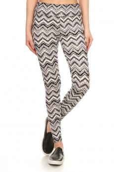 BLACK/WHITE CHEVRON PRINT BRUSH POLY HIGH WAIST LEGGING #7L14-08