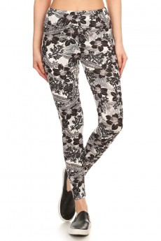 BLACK/WHITE TROPICAL PRINT BRUSH POLY HIGH WAIST LEGGING #7L14-10