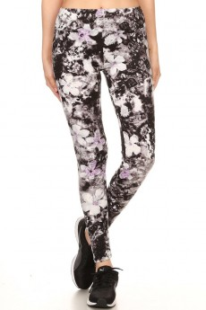FLORAL PRINT BRUSH POLYESTER LEGGING# 7L147-02