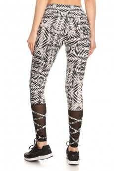 BLACK/WHITE ABSTRACT GEO MID-RISE LEGGING W/ STRAPPY MESH PANELS#7L18-03