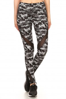 BLACK/GREY CAMO PRINT LEGGING W/ ASSYMETRICAL MESH PANELS#7L20-07