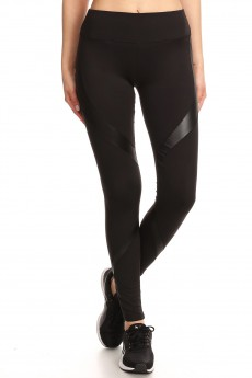 BLACK SPORT LEGGING WITH PU PANELS#7L33