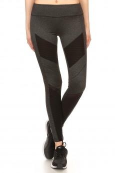 MOTO LEGGING WITH CONTRAST MESH AND PINTUCK PANELS #7L46