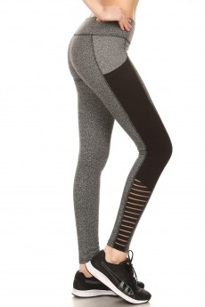 COLOR BLOCK LEGGING W/ CONTRAST STRIPED MESH PANELS#7L48-01