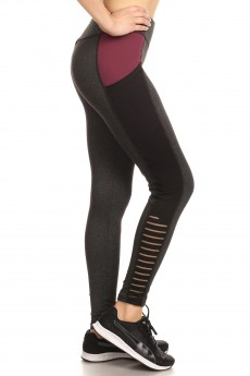 COLOR BLOCK LEGGING W/ CONTRAST STRIPED MESH PANELS#7L48-04