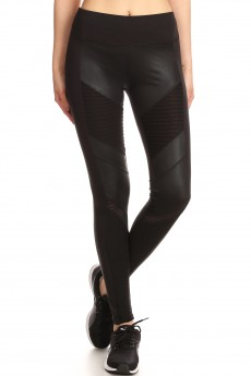 MOTO LEGGING W/CONTRAST CRACKLED PU WITH MESH&PINTUCK PANELS#7L60