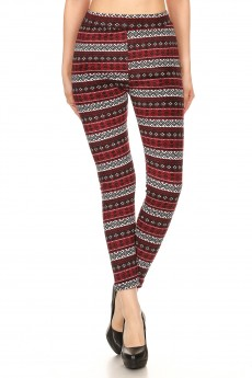 BLACK/BURGUNDY/WHITE AZTEC PRINT VELVET FUR LINED LEGGING#7L72-03