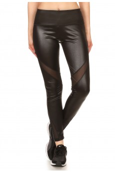 BLACK HIGH WAIST PU LEGGING WITH MESH SIDE PANELS#7L98