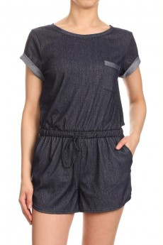 SHORT SLEEVE STRETCH DENIM ROMPER#7RMP03