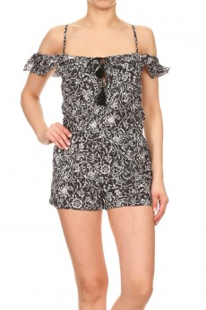 BLACK/WHITE FLORAL PRINT COLD SHOULDER RUFFLED ROMPER W/ TASSEL#7RMP07-16