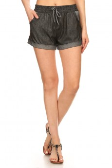 TWO TONE STRETCH DENIM SHORTS #7SH05