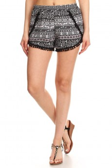 BLACK/WHITE/BURGUNDY PAISELY PRINT OVERLAP SHORTS W/ POMPOM TRIM #7SH10-11
