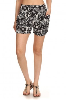 BLACK/WHITE TROPICAL PRINT HAREM SHORTS #7SH11-02