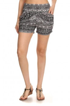 BLACK/WHITE/BURGUNDY PAISELY PRINT HAREM SHORTS #7SH11-12