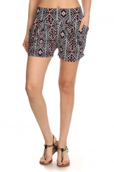 BLACK/CORAL TRIBAL PRINT HAREM SHORTS #7SH11-13