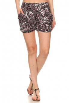BLACK/MAUVE ABSTRACT GEO PRINT HAREM SHORTS #7SH11-17