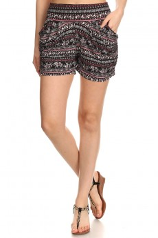 BLACK/BURGUNDY ELEPHANT PRINT HAREM SHORTS #7SH11-19