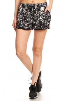 BLACK/WHITE TROPICAL PRINT POLY KNIT SHORTS WITH WAIST TIE #7SH12-02
