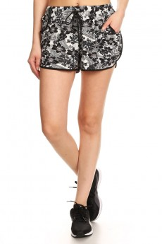 BLACK/WHITE TROPICAL PRINT POLY KNIT SHORTS WITH WAIST TIE #7SH12-04