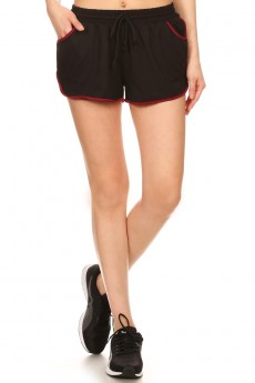 CONTRAST POLY KNIT SHORTS WITH WAIST TIE #7SH12