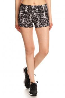 BLACK ABSTRACT ANIMAL PRINT CUT & SEW RUNNING SHORTS#7SH19-01