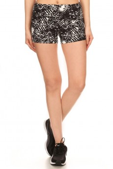 BLACK/WHITE TROPICAL PRINT CUT & SEW RUNNING SHORTS#7SH19-05