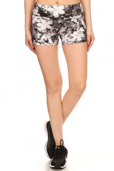 BLACK/GREY/PINK ABSTRACT FLORAL PRINT CUT & SEW RUNNING SHORTS #7SH19-07