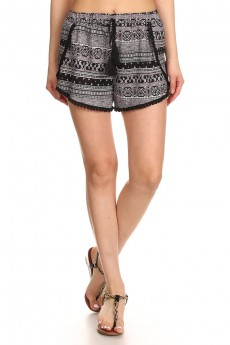 BLACK/MAUVE/WHITE PAISLEY  PRINT BRUSH POLY POMPOM SHORTS W/ TASSEL #7SH21-05