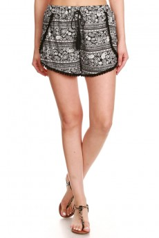 BLACK/WHITE PAISLEY PRINT BRUSH POLY POMPOM SHORTS W/ TASSEL #7SH21-07