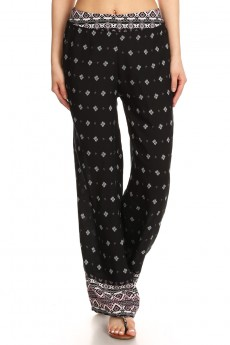 BLACK/MAUVE TRIBAL BORDER PRINT STRAIGHT LEG PANT #7SLP01-09