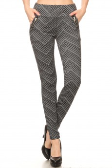 BLACK/WHITE CHEVRON PRINT TREGGING WITH ZIPPER DETAIL#7TRG09-04