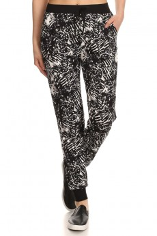 BLACK/WHITE TROPICAL PRINT BRUSH POLY JOGGER #7TRK02-01