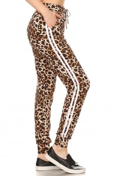 BROWN/BLACK/WHITE ANIMAL PRINT STRIPE CONTRAST JOGGER#7TRK07-SK02