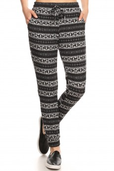 BLACK/HEATHER GREY REINDEER PRINT SWEATER KNIT JOGGER #7TRK14-02