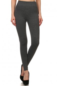 COTTON BLENDED FLEECE SEAMLESS LEGGINGS #7YD9000