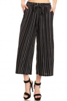 BLACK/WHITE STRIPED PRINT CULOTTES W/ FRONT SELF WAIST TIE#8CLT03-05