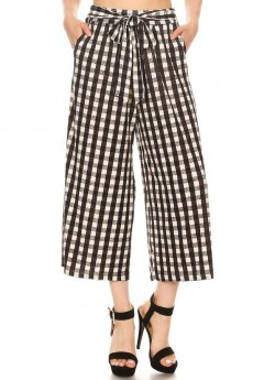 BLACK/WHITE/HEATHER GREY GINGHAM PRINT CULOTTES W/ SELF WAIST TIE#8CLT03-16