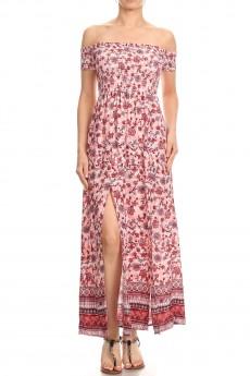 PINK/RED FLORAL BORDER PRINT OFF SHOULDER SMOCKING MAXI DRESS#8DS02-06